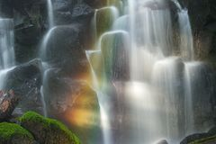 Ramona Falls with rainbow Stock Images