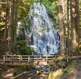Ramona Falls by the Wooden Bridge in Oregon Stock Photography