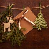 Ramos, cervos, floco de neve e cartão do pinho Imagem de Stock Royalty Free