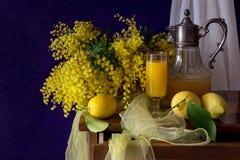 Ramos da mimosa, dos limões e do suco na tabela imagem de stock royalty free