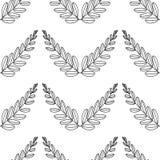 Ramos das azeitonas, símbolo da vitória, ilustração do vetor, linha silhueta Teste padrão sem emenda ilustração stock