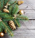 Ramos de árvore do Natal com bolas e o abeto-cone dourados Imagem de Stock Royalty Free