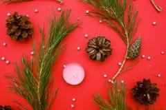 Ramos de árvore do Natal com cones em um fundo vermelho imagens de stock
