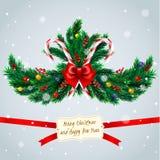 Ramos de árvore do Natal com quadro Imagem de Stock Royalty Free