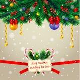 Ramos de árvore do Natal com quadro Imagens de Stock