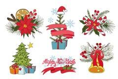 Ramos de árvore do Natal, flores, grupo da decoração ilustração royalty free