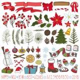 Ramos de árvore do Natal, flores, jogo da decoração ilustração royalty free