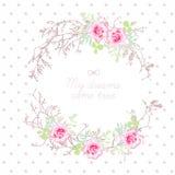 Ramos de árvore e quadro redondo do vetor das flores cor-de-rosa Fotos de Stock Royalty Free