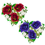 Ramos de flores rojas y azules en la forma del corazón Imagenes de archivo