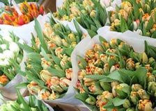 Ramos de tulipanes anaranjados en Amsterdam  Imagen de archivo libre de regalías