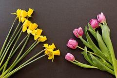 Ramos de tulipanes y de narcisos en un fondo negro imagen de archivo libre de regalías