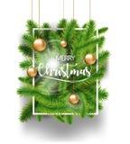 Ramos do verde da árvore do Feliz Natal com os brinquedos do bulbo do ouro e isolado branco do quadro no fundo branco Ilustração  Imagens de Stock Royalty Free