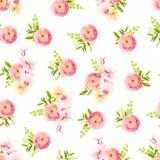 Ramos elegantes de rosas, ranúnculo, impresión inconsútil del vector de la orquídea ilustración del vector
