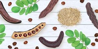 Ramos maduros da alfarroba, sementes, vagens doces, pó, folhas na mesa gasto de madeira branca ilustração do vetor