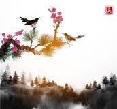 Ramos pequenos do pássaro, do pinheiro e do sakura e árvores de floresta na névoa O sumi-e oriental tradicional da pintura da tin ilustração royalty free