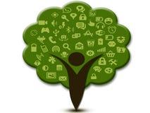Ramos sociais dos ícones dos meios e árvores humanas Fotografia de Stock Royalty Free