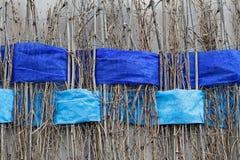 Ramoscelli con gli ampi nastri blu intrecciati di feltro Fotografia Stock