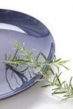 Ramoscelli dei rosmarini su un piatto blu Immagine Stock Libera da Diritti
