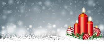 Ramoscelli di Gray Christmas Card Snow Baubles 3 candele di intestazione Fotografia Stock