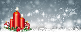 Ramoscelli di Gray Christmas Card Snow Baubles 3 candele di renna Stardu Fotografie Stock Libere da Diritti