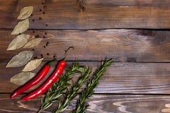 Ramoscelli rossi dei rosmarini e del peperoncino con le foglie dell'alloro su fondo di legno Fotografia Stock Libera da Diritti