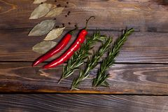 Ramoscelli rossi dei rosmarini e del peperoncino con le foglie dell'alloro su fondo di legno Fotografie Stock