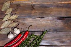 Ramoscelli rossi dei rosmarini e del peperoncino con le foglie dell'alloro e le teste bianche dell'aglio su fondo di legno Fotografia Stock