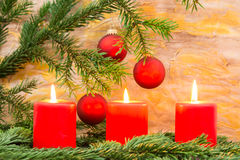 Ramoscello e candela dell'abete Fotografia Stock Libera da Diritti