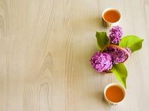 Ramoscello lilla del lillà della teiera del tè verde del tè Immagini Stock