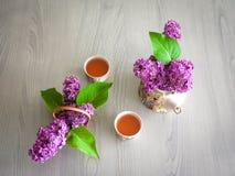 Ramoscello lilla del lillà della teiera del tè verde del tè Fotografie Stock Libere da Diritti