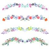 Ramowa granica, kwiecisty dekoracyjny ornament z akwarelą kwitnie, liście i gałąź Obraz Royalty Free