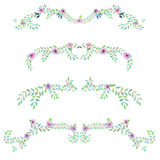 Ramowa granica, kwiecisty dekoracyjny ornament z akwarelą kwitnie, liście i gałąź Obraz Stock