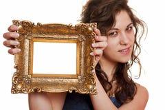 ramowa mienia obrazka kobieta Zdjęcie Stock