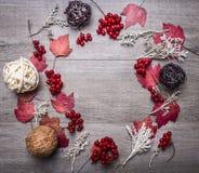 Ramowe dekoracyjne piłki robić rattan, jesień liście, rośliny, jagody Viburnum na drewnianym nieociosanym tło odgórnego widoku za Fotografia Stock