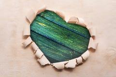 Ramowego serce papieru granicy kształta dest stary drewniany Zdjęcia Stock