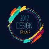 Ramowi 2017 projekta sztuki Round Jaskrawy Rabatowy muśnięcie Zdjęcie Stock