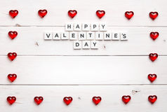 Ramowy i Szczęśliwy valentine ` s dzień na drewnianym tle Zdjęcie Stock