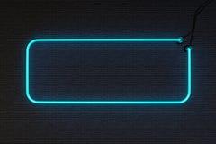 Ramowy Neonowego znaka ściana z cegieł Zdjęcia Stock