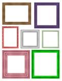 Ramowy obrazek ramy drewniany Rzeźbiący wzór odizolowywający na biali półdupki Zdjęcia Stock