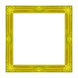 Ramowy obrazek ramy złota drewniany Rzeźbiący wzór odizolowywający na whi Zdjęcia Royalty Free