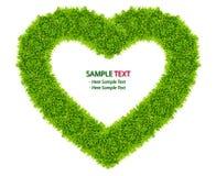ramowy trawy zieleni serce odizolowywająca miłość Zdjęcie Stock