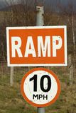 Ramp 10mph signs. Stock Photos