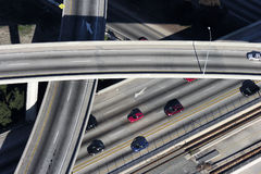 Ramp Aerial. Los Angeles freeway aerial.  Merging lanes, ramps and bridges in afternoon light Stock Images