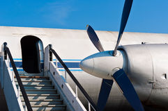 Ramp of an airplane. With opened door royalty free stock photography