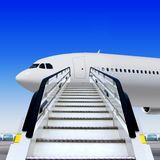 Ramp at airport near white plane. Frontal view of white ramp in airport near the plane stock illustration