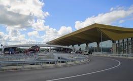 At the ramp departures of the new terminal of Pulkovo airport. Tourist landmark of the Saint Petersburg Stock Photos