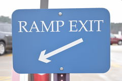 Ramp Exit Sign With Arrow In Parking Garage Royalty Free Stock Images