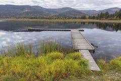 Ramp leading to dock on north Idaho lake. stock image