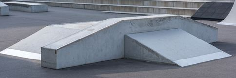 Ramp in the skate park as a panorama stock images