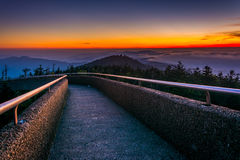 Ramp to the  Clingman's Dome Observation Tower at sunset, in Gre Stock Image
